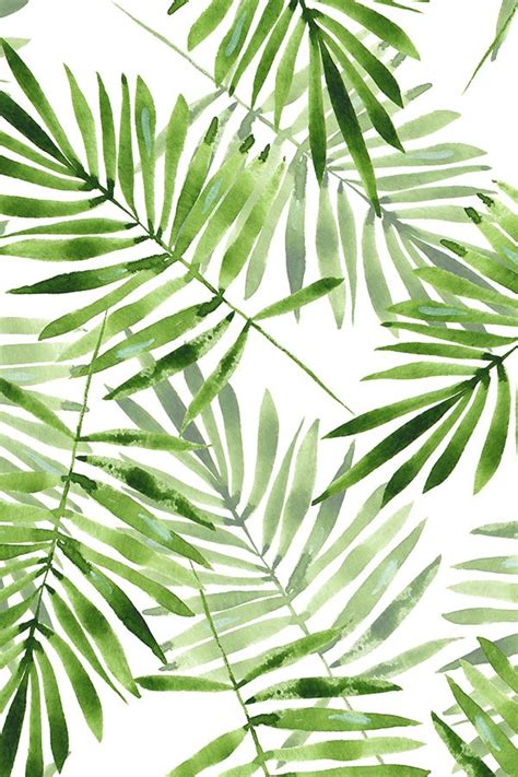 hawaiian pattern iphone wallpaper watercolor palm leaves by gribanessa in emerald green