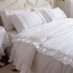 And elegant white lace ruffle duvet cover bedding set queen size
