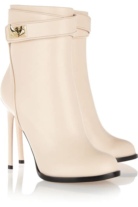 givenchy shark lock leather ankle boots in beige neutrals