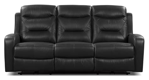 Genuine Leather Reclining Sofa River Genuine Leather Power Reclining Sofa Black The Brick