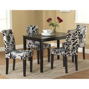 Living parson black and silver 5 piece dining table and chairs set