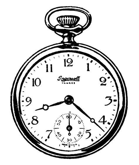 printable white rabbit clock vintage clip art black and white pocket watches the
