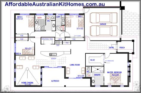 Open Plan Design 4 Bedroom 1 Storey Home Australian Kit House Plans Single Storey Australia
