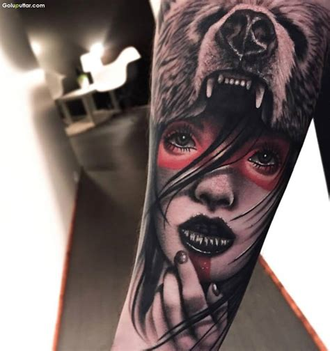 tattoo girl animal head 3d arm tattoos