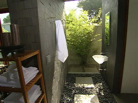outdoor bathroom plans indoor outdoor bathroom hgtv