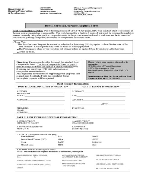 rent increase decrease request form new york free