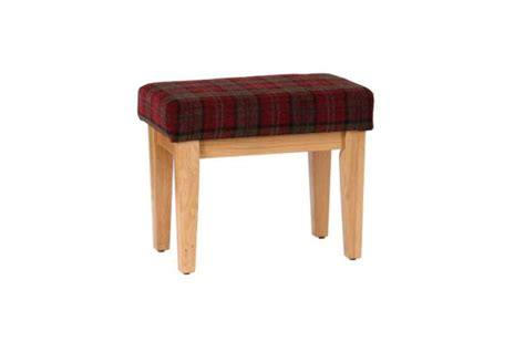 small cushioned bench small solid oak bench with tartan cushioned seat claret