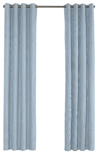 Blue Ticking Curtains Blue Ticking Stripe Grommet Curtain Transitional Curtains By Loom Decor
