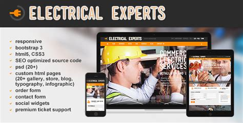 Electrical Experts Website Template Html5 Responsive Tonytemplates Electrician Website Template