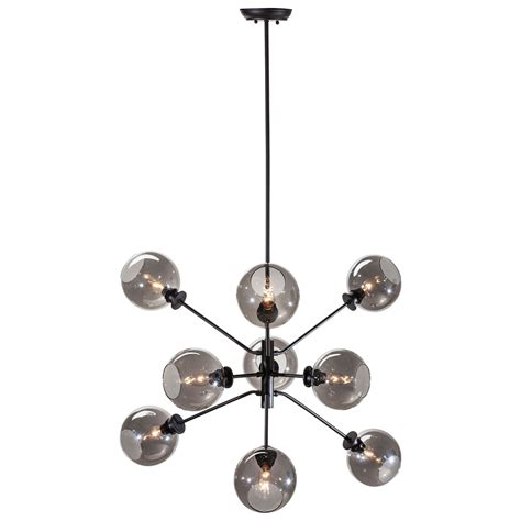Atom Pendant Light Atom Black Nine Light Pendant With Grey Glass Nuevo Starburst Pendant Lighting Ceiling Lig