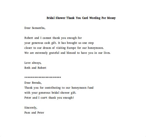 thank you notes for wedding shower gifts wording bridal shower thank you note 6 free word excel pdf