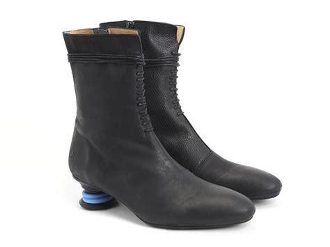 fluevog boots fluevog shoes shop zoysia black mid calf lace up boot