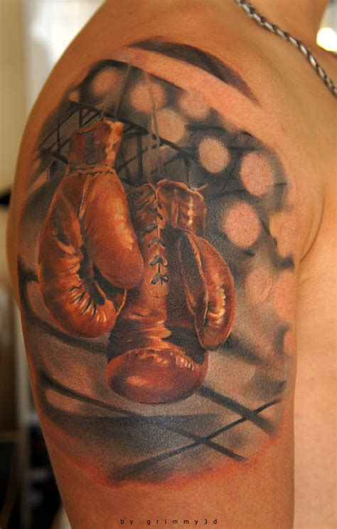 boxing tattoo classic boxing gloves by andrew barkov aka grimmy 3d