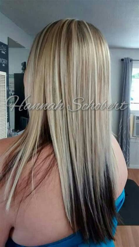 hairstyles black underneath blonde on top cool bright heavy blonde highlights with dark underneath