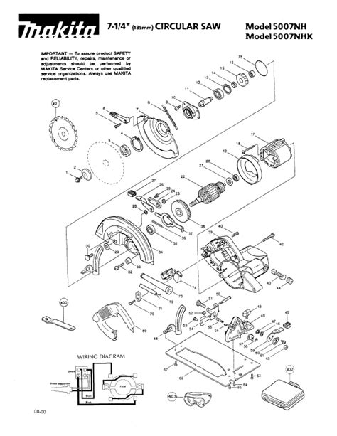 diagram of parts makita table saw sketch coloring page