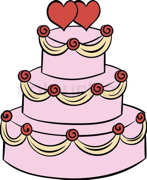 Wedding cake icon in cartoon style     Stock Vector