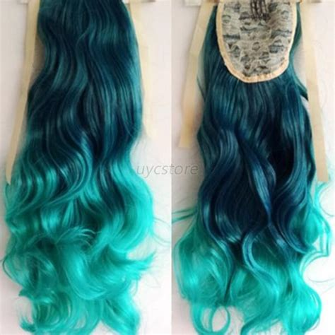 ombre african american ponytails pieces stylish ombre mix color 53cm long wavy curly ponytail hair