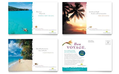 postcard designs templates travel agency postcard template design