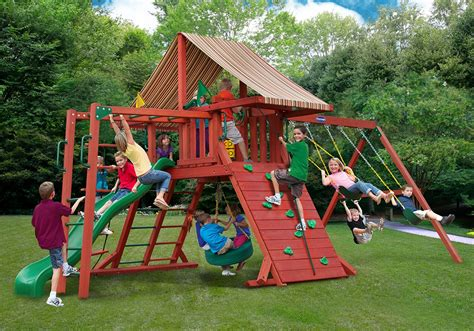 wooden swing sets with monkey bars russet ridge wood swing set with monkey bars kid s playsets