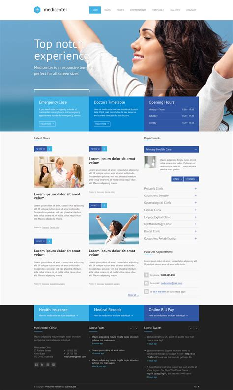 Medicenter Responsive Medical Health Template By Quanticalabs Themeforest Healthcare Website Templates