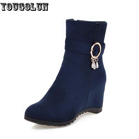 Sneaker Wedges Ankle Autunum Black yougolu autumn winter ankle boots height increasing 5 5cm shoes fashion wedges shoe