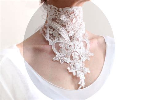 Four Flowers Decoarted Lace Design Collar White white lace choker necklace bridal neck
