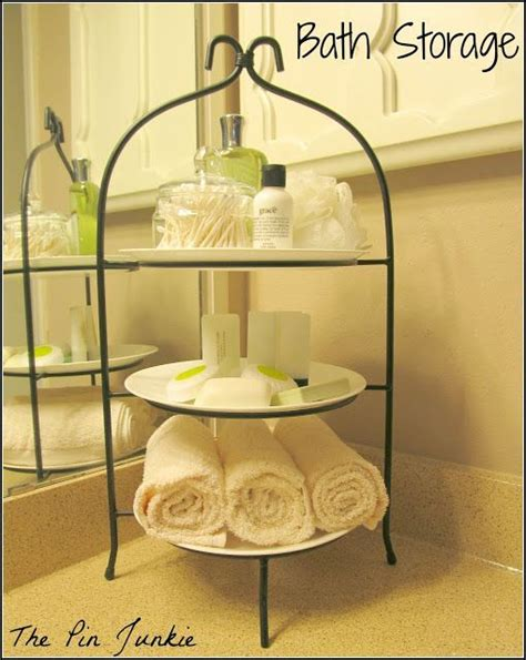 Tiered Bathroom Storage Go Vertical With Your Bathroom Storage Using A Tiered Plate Stand Via The Pin Junkie Bathroom