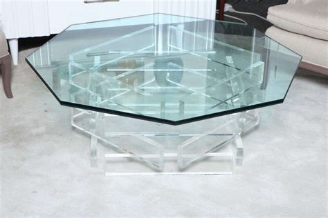 beautiful 1970 s octagonal lucite and glass coffee table