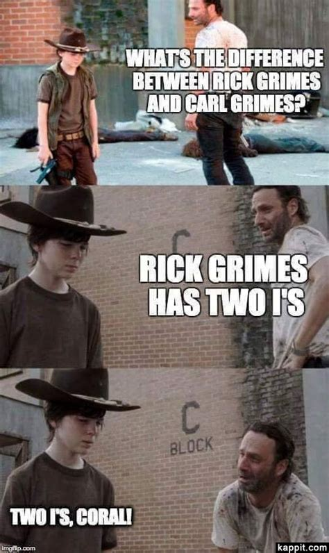 Walking Dead Rick Meme - what s the difference between rick grimes and carl grimes