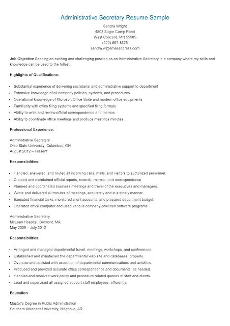 Public Administration Resume Sample by Resume Samples Administrative Secretary Resume Sample