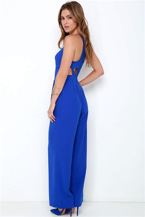 Jumpsuit Blue cobalt blue jumpsuit sleeveless jumpsuit wide leg