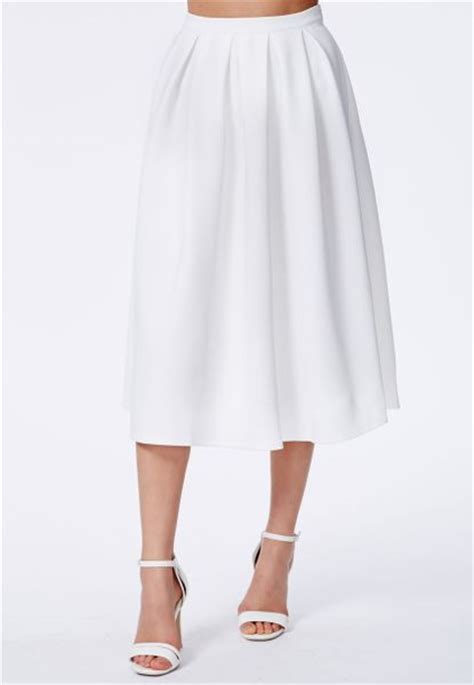 missguided auberta white pleated midi skirt in scuba in