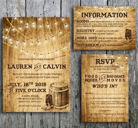 country wedding invitation suite with lights and by langdesignshop