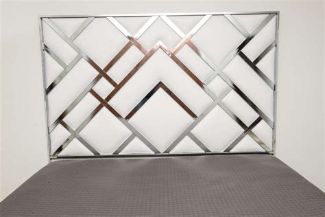 king size d i a headboard in chrome and faux leather at