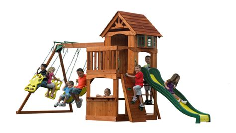 adventure play sets atlantis cedar wooden swing set get great value with backyard discovery atlantis cedar