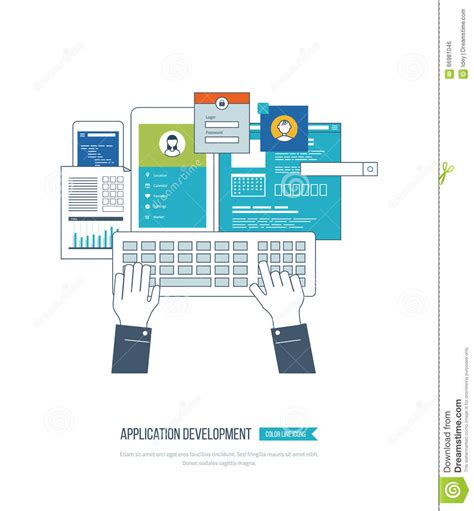 application design concepts web and application development vector illustration