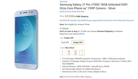 samsung galaxy j7 pro with android nougat listed on usa