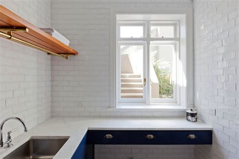 blue galley kitchen cottage kitchen arent pyke white glass subway tile cottage kitchen arent pyke