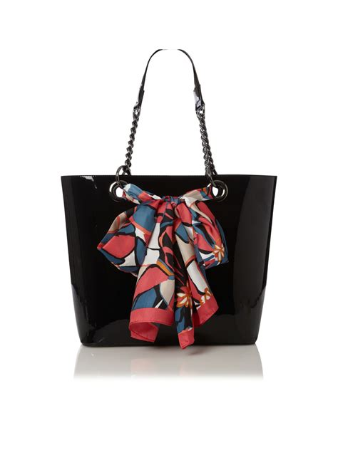 dkny patent large scarf tote bag in black lyst