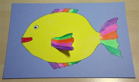 rainbow fish colouring craft  kids   printable template