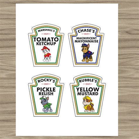 printable heinz ketchup label sale 50 paw patrol condiment labels paw by printathomedesign