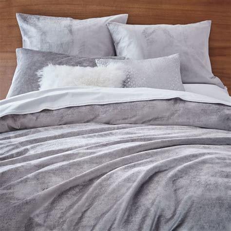 Cotton Duvet Washed Cotton Luster Velvet Duvet Cover Shams Platinum