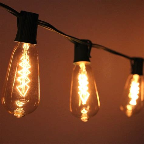 Edison Bulb Patio String Lights 10 Socket Patio String Light St40 Edison Spiral Bulbs 10ft Black Cord E17 Base Ebay