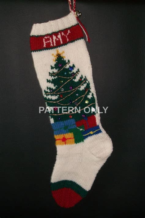 pdf pattern for christmas stocking pdf pattern only hand knitted christmas tree stocking