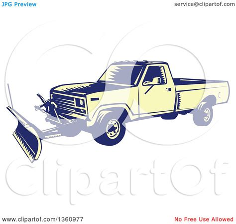 clipart of a retro woodcut clipart of a retro yellow and blue woodcut snow plow truck