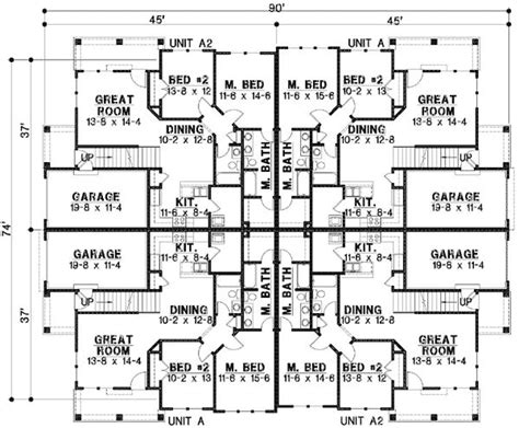 home unit design plans plan 18511wb 8 unit house plan with corner decks 2nd