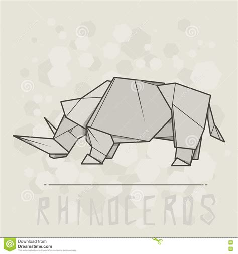 How To Make Origami Rhino - vector illustration paper origami of rhinoceros stock
