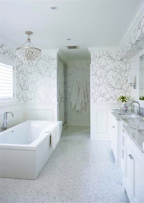 white and silver wallpaper transitional bathroom