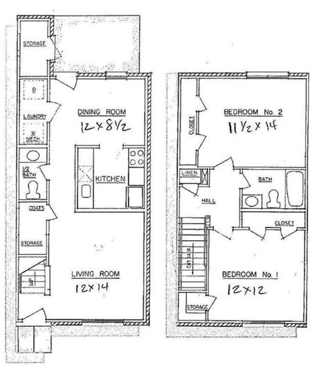 two bedroom townhouse plans 2 bedroom town home westwood apartments floor plans