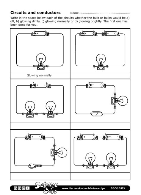 parallel circuits ks3 worksheet schools science circuits and conductors worksheet science